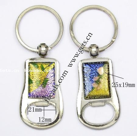bottle opener key chain zinc alloy with lampwork gold sand and silver foil 25x19mm. Black Bedroom Furniture Sets. Home Design Ideas