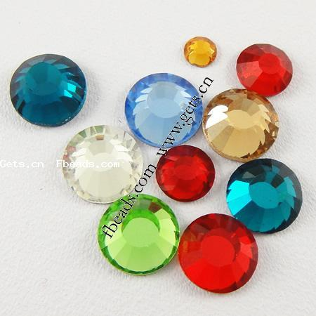 Rhinestone Cabochon, Flat Round, faceted, more colors for choice, 1440PCs/Bag, Sold By Bag