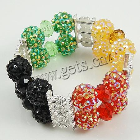 Fashion Create Jewelry Bracelets, double-loop, resin beads & cristal & zinc alloy components, 7-26mm, Sold per 7-Inch Strand