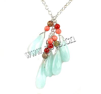 Gemstone Necklaces, with sterling silver chain & coral, Teardrop, 4-12mm, Sold Per 36 Inch Strand
