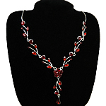 Rhinestone Brass Necklace, with Acrylic & Acrylic, with rhinestone, red, nickel, lead & cadmium free, 16mm, Length:15.5 Inch, Sold By Strand