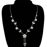 Rhinestone Brass Necklace, with rhinestone, nickel, lead & cadmium free, 15mm, Length:16.5 Inch, Sold By Strand