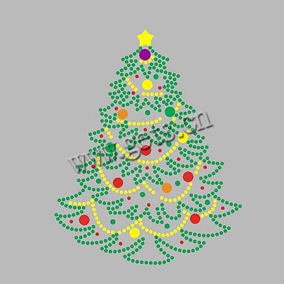 Rhinestone Hot Fix Motif, AA grades, christmas tree pattern, 265x175mm, Sold by PC