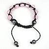 Rhinestone Woven Ball Bracelets, with Hematite, handmade, with Czech rhinestone, pink, 8-10mm, Length:6-10 Inch, Sold By Strand