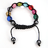 Rhinestone Shamballa Bracelets, with Hematite, handmade, with Czech rhinestone, multi-colored, 8-10mm, Sold Per 6-10 Inch Strand