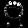 Rhinestone Woven Ball Bracelets, with Hematite, handmade, with Czech rhinestone, 10-14mm, Length:6-10 Inch, Sold By Strand