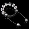 Rhinestone Woven Ball Bracelets, with Hematite, handmade, with Czech rhinestone, 10-12mm, Length:6-10 Inch, Sold By Strand