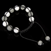 Rhinestone Woven Ball Bracelets, with Hematite, handmade, with Czech rhinestone, 8-10mm, Length:6-10 Inch, Sold By Strand