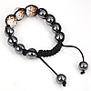 Rhinestone Woven Ball Bracelets, with Hematite, handmade, with Czech rhinestone, 12-14mm, Length:6-10 Inch, Sold By Strand