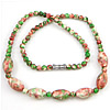 Gemstone Necklaces, Rain Flower Stone, 14x9mm, 5mm, Length:Approx 17 Inch, Sold By Strand