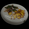 Printing Porcelain Beads, Flat Round, with flower pattern, 25x25x6mm, Hole:Approx 2mm, Sold By PC