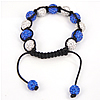 Rhinestone Woven Ball Bracelets, with Hematite, with Mideast rhinestone, 8-10mm, Length:6-10 Inch, Sold By Strand
