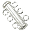 Sterling Silver Slide Lock Clasp, 925 Sterling Silver, Tube, 3-strand, more colors for choice, Grade A, Hole:Approx 2.2mm, Sold By PC