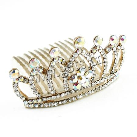 Decorative Hair Combs, Zinc Alloy, Crown, real gold plated, with Czech rhinestone, nickel, lead & cadmium free, 5x35x62mm, Sold By PC