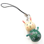 Wood Cell Phone Lanyard, with Nylon Cord, Rabbit, 27x46x21mm, Length:4 Inch, Sold By Strand