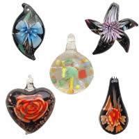 Inner Flower Lampwork  Pendants