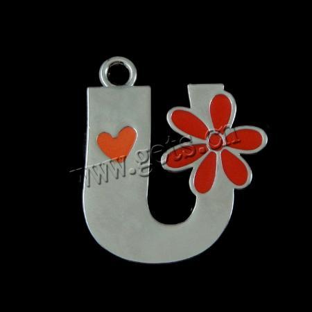 U Alphabet In Heart Zinc Alloy Alphabet Pendants