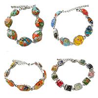Millefiori Glass Brass Chain Bracelets