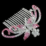 Decorative Hair Combs, Zinc Alloy, with Rhinestone, Dragonfly, more colors for choice, nickel, lead & cadmium free, 80x61x17mm, Sold By PC