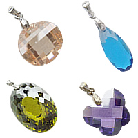 Cubic Zirconia (CZ) Brass Bail Pendants