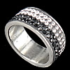 Rhinestone Stainless Steel Finger Ring, with Mideast rhinestone, Hole:Approx 16mm, Size:5.5, Sold By PC