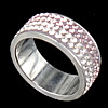 Rhinestone Stainless Steel Finger Ring, 8mm, Hole:Approx 17mm, Size:6.5, Sold By PC