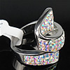 Rhinestone Stainless Steel Finger Ring, with Mideast rhinestone, 25mm, Hole:Approx 18mm, Size:8, Sold By PC