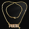 Rhinestone Brass Necklace, with iron chain, Letter, with rhinestone, 32.5x14x2.5mm, Length:17 Inch, Sold By Strand