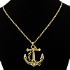 Rhinestone Brass Necklace, with iron chain, Anchor, ball chain & with rhinestone, 45.5x50.5x6mm, Length:24 Inch, 13Strands/Lot, Sold By Lot