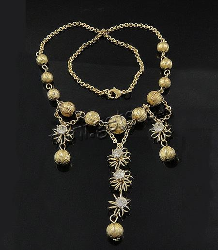 Rhinestone Brass Necklace, ball chain & with rhinestone, cadmium free, 15x59mm, 8-12mm, Length:17.8 Inch, 50Strands/Lot, Sold By Lot