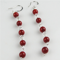 Coral Drop Earring, sterling silver earring hook, Round, red, 6mm, Sold By Pair