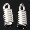 Sterling Silver Cord Coil, 925 Sterling Silver, plated, more colors for choice, 3.2x7.5mm, Hole:Approx 2mm, Sold By Pair