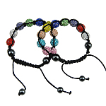 Rhinestone Shamballa Bracelets, with Wax Cord & Hematite & Zinc Alloy, handmade, mixed, 12mm, Length:7-10 Inch, 12Strands/Bag, Sold By Bag
