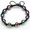 Hematite Woven Ball Bracelets, with Nylon Cord, handmade, 10mm, Length:6-12 Inch, Sold By Strand