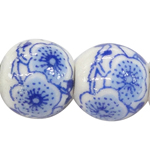 Decal Porcelain Beads, Round, different size for choice & with flower pattern, white, Sold By PC