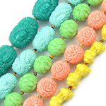 Carved Turquoise Beads, synthetic, mixed, 18-33mm, Hole:Approx 3mm, Length:15.5 Inch, Sold By KG