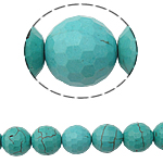 Synthetic Turquoise Beads, Round, different size for choice & faceted, Hole:Approx 1mm, Length:Approx 15.5 Inch, 36PCs/Strand, Sold By Strand