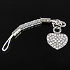 Fashion Mobile Phone Lanyard, Zinc Alloy, Heart, platinum color plated, with rhinestone, 17.5x14x2mm, Length:3 Inch, Sold By Strand