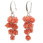 Coral Drop Earring, Synthetic Coral, iron earring hook, Flower, pink, 12Pairs/Bag, Sold By Bag