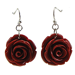 Coral Drop Earring, Synthetic Coral, iron earring hook, Flower, red, 12Pairs/Bag, Sold By Bag