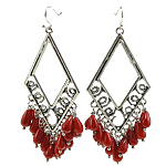 Coral Drop Earring, Synthetic Coral, iron earring hook, Rhombus, red, 33x83mm, 12Pairs/Bag, Sold By Bag