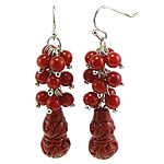 Coral Drop Earring, Synthetic Coral, iron earring hook, Calabash, red, 13x53mm, 12Pairs/Bag, Sold By Bag