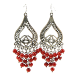 Coral Drop Earring, Synthetic Coral, iron earring hook, with rhinestone, red, nickel, lead & cadmium free, 26x78mm, 12Pairs/Bag, Sold By Bag