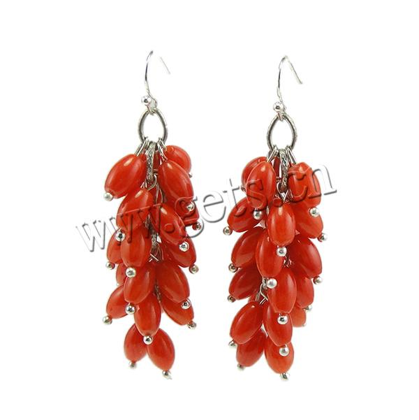 Coral Drop Earring, Synthetic Coral, iron earring hook, Oval, red, 12Pairs/Bag, Sold By Bag