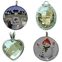 Glass Zinc Alloy Pendants