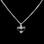 Rhinestone Brass Necklace, with iron chain, Heart, with rhinestone, 19x22x3mm, Length:15.5 Inch, 12Strands/Bag, Sold By Bag