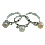 Cultured Freshwater Pearl Finger Ring, Brass, with Freshwater Pearl, mixed colors, Hole:Approx 16-18mm, 36PCs/Box, Sold By Box