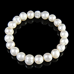 Freshwater Pearl Bracelet, with Rhinestone Clay Pave Bead, 8mm, 8-10mm, Length:7 Inch, Sold By Strand