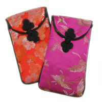 Embroidery Silk Phone Bag, Rectangle, with flower pattern, mixed colors, Sold By PC