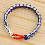 Friendship Bracelets, Wax Cord, with leather cord, zinc alloy clasp, handmade, 12mm, Sold Per 7.5 Inch Strand